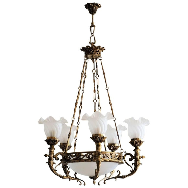 Early 20th Century French Art Deco Bronze Frosted Glass Seven-Light Chandelier