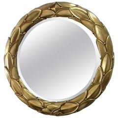 Golden Stucco Round Mirror