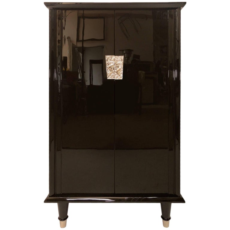 1930s French Art Deco Bar Furniture in Black Lacquer with Nickelled Fittings For Sale
