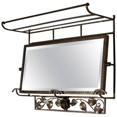 French Art Deco Iron Hat and Coat Shelf Brutalist Mirror, Pullman Style