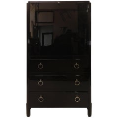 Strong 1930s French Art Deco Bureau in Black Lacquer with Drawers
