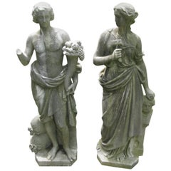 Pair of Late 18th Century Lifesize Italian Marble Statues