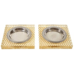 Italian Glam Lucite Brass and Steel Pair of Ashtrays, 1970s
