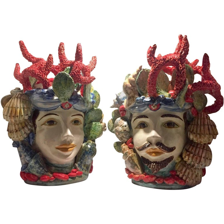 Valet Moro Woman and Man Ceramic Sicilian Heads