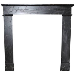 Antique Black Marble Fireplace Mantel, 19th Century