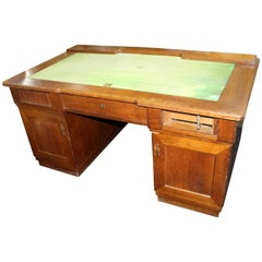 Very Heavy Early 20th Century Large Oak Desk with Roll Top