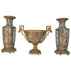 Fine Chinese Canton Ormolu-Mounted Garniture