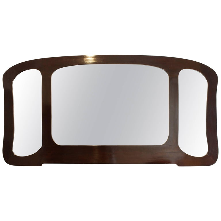 Art Nouveau Black Three Part Mirror