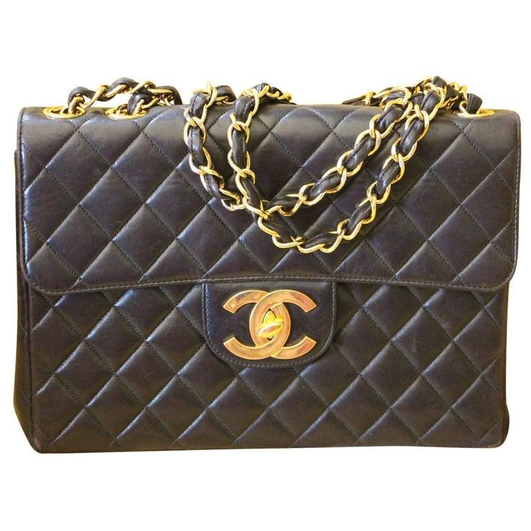 Chanel Jumbo Flap Bag in Black Lambskin