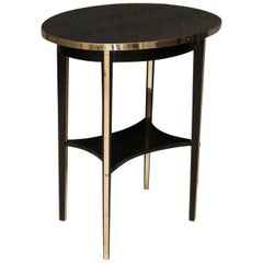 Thonet Oval Black Shellac and Brass Austrian Art Nouveau Side Table