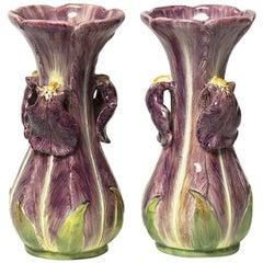 Delphin Massier a Pair of Iris Vases, Majolica, circa 1900