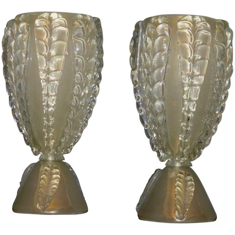 Pair of Murano Art Glass Italian Midcentury Table Lamps