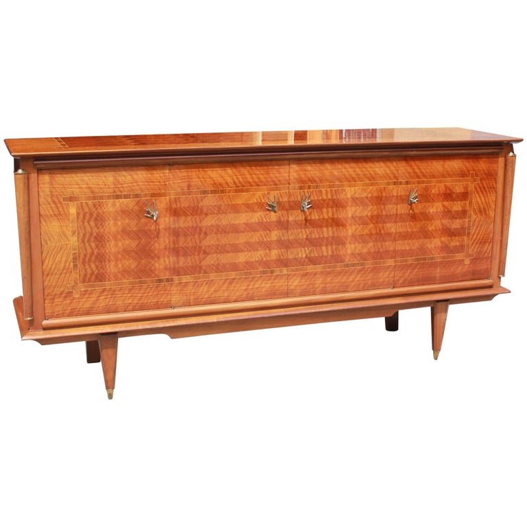 Classic French Art Deco Light Macassar Ebony with Rosewood Sideboard or Buffet For Sale