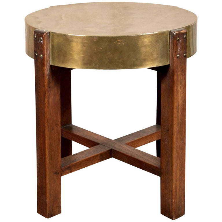 Arts & Crafts Round Mahogany and Brass Side Table