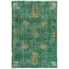 Distressed Midcentury Deco Rug in Green Color