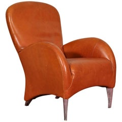 Vintage Molinari Tobacco Leather Armchair