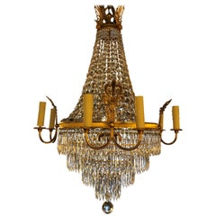 French Second Empire Gilt Bronze Chandelier with 4 x 2 Arms