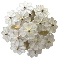 Ernst Palme Sconce with Textured Glass Flowers on Brass Frame