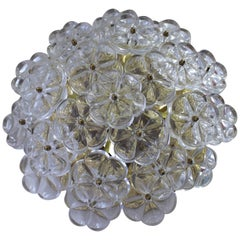Ernst Palme Sconce or Flush Mount Fixture with Flowers in Clear Glass