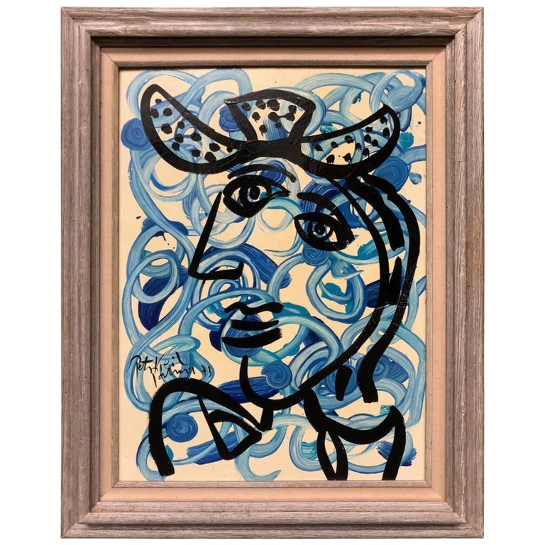 Peter Keil Abstract Expressionist Oil Portrait 'The Blue Lady'
