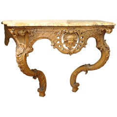 Rococo Rocaille Style Console with Marble Top from France