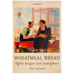 Original Vintage WWII Ministry of Food Poster Promoting Wheatmeal Bread Benefits