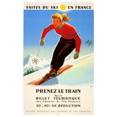"Original Vintage Winter Sport SNCF Railway Poster ""Ski In France Take The Train"""