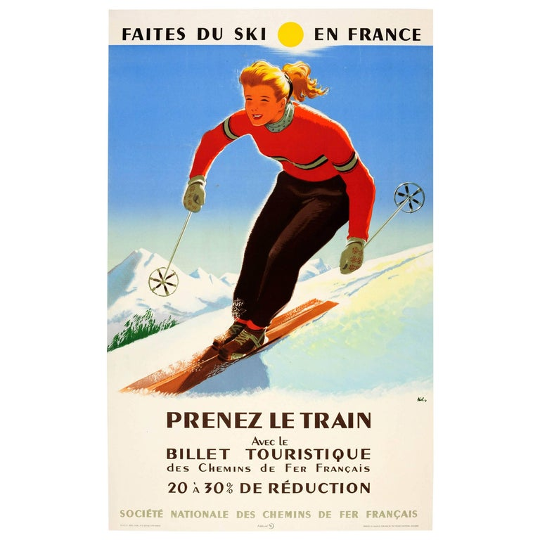 Original Vintage Winter Sport SNCF Railway Poster - Ski In France Take The Train