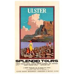 Original Vintage Ireland Travel Poster, Ulster Splendid Tours Giant's Causeway
