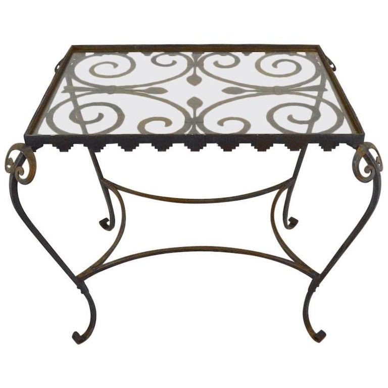 French Art Deco Garden Table with Glass Top