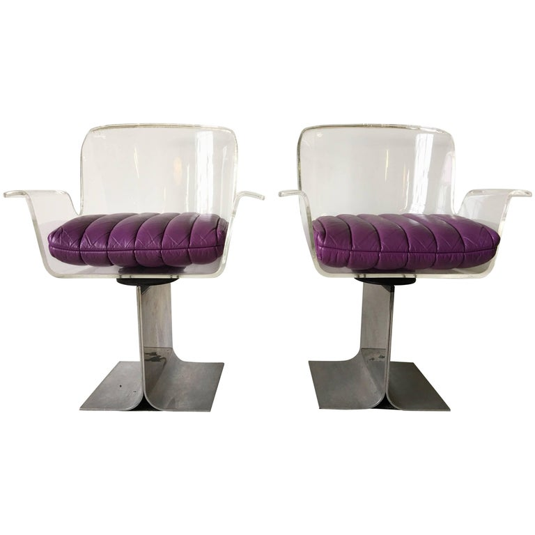 Leon Rosen Pace Collection Lucite Acrylic Swivel I-Beam Armchairs