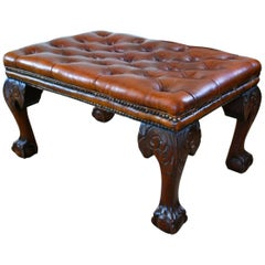 Large 19th Century Deep Buttoned Leather Low Stool