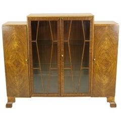 Antique Walnut Bookcase, Art Deco Bookcase, Display, Antique Furniture