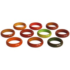 Set of TEN Art Deco Period Bakelite Circular Napkin Rings, circa 1930
