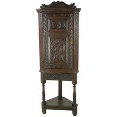 Antique Corner Cabinet, Entryway Organizer, Scotland 1780, Ancient Antique