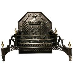 Period Cast Iron and Brass Victorian Style Fire Grate Basket