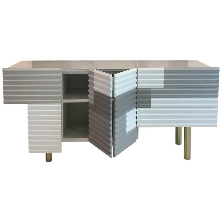 White & Gray Matte Lacquered Shanty Storage Credenza / Sideboard by BD Barcelona