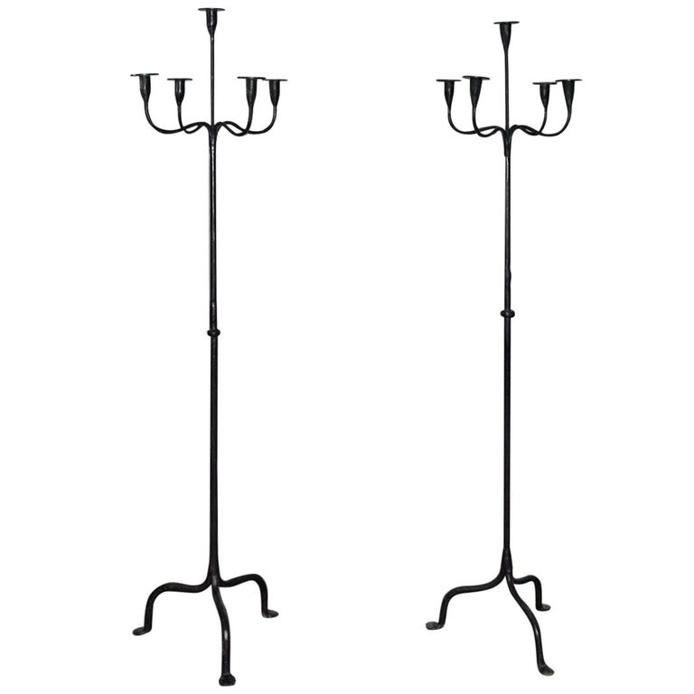 Pair of Rustic Wrought Iron Floor Torcheres For Sale