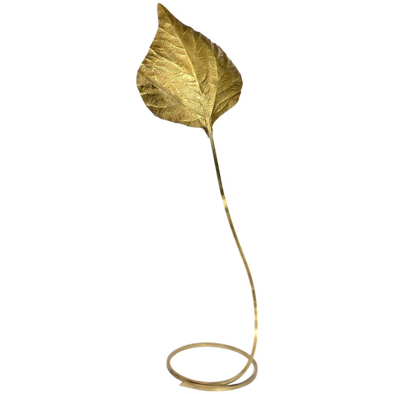 Tommaso Barbi Italian Large Brass Rhubarb Leaf Floor Lamp