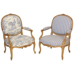 Pair of Louis XV Style Beechwood Armchairs