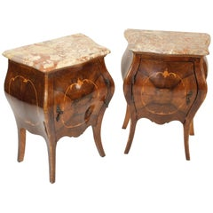 Pair of Italian Louis XV Style Bombe Occasional Commodes