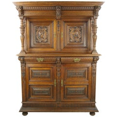 French Renaissance Cabinet, Heavily Carved Cabinet, France 1880, Antiques