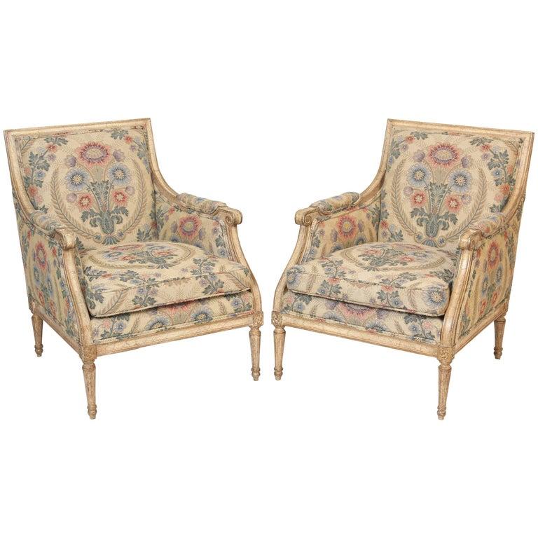 Pair of Louis XVI Style Painted Bergeres