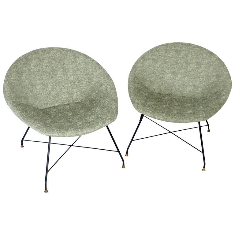 Pair of Italian Lounge Chairs by Augusto Bozzi for Saporiti Italia