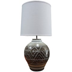 Vintage Hand Thrown Ceramic Lamp with New Shade
