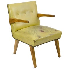 American Modern Birch and Leather Armchair