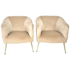 Pair of Italian Lounge Chairs on Brass Legs Midcentury, Isa Bergamo, Italy