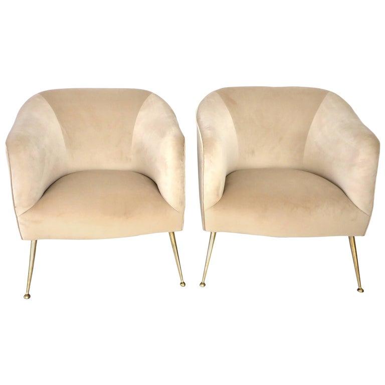 Pair of Italian Lounge Chairs on Brass Legs Midcentury, Isa Bergamo, Italy