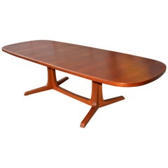 Danish Modern Large Teak 1960s Oval Two-Leaf Dining Table by NO Moller for Gudme