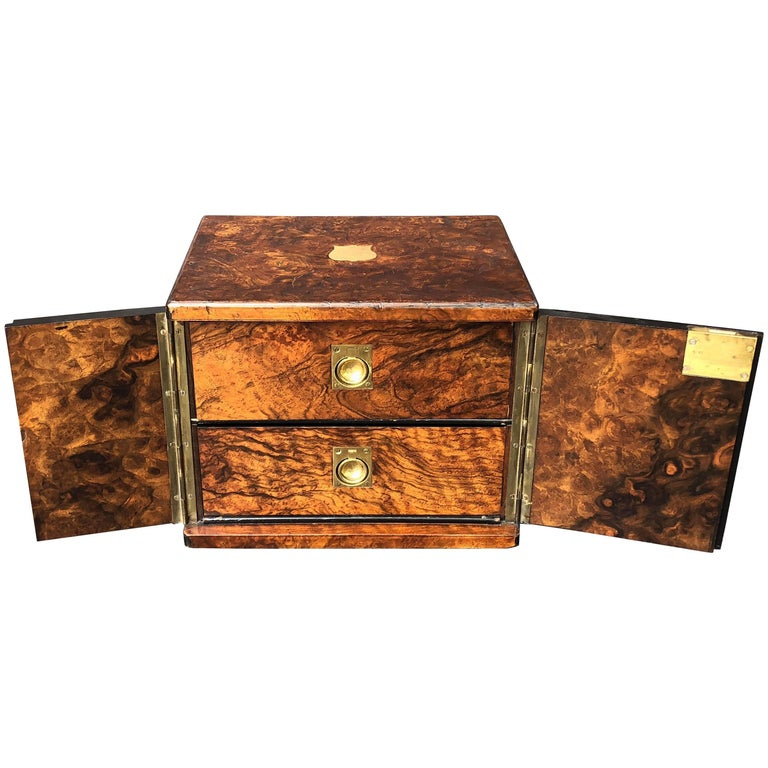 English Collector's Cabinet Box of Brass-Bound Burr Walnut
